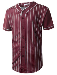 BURGUNDY Striped Baseball Jersey T-shirt - URBANCREWS