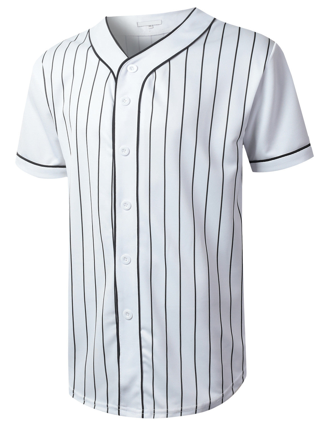 WHITE Striped Baseball Jersey T-shirt - URBANCREWS