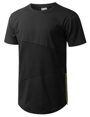 BLACK Mesh Trim Tonal Longline T-shirt - URBANCREWS