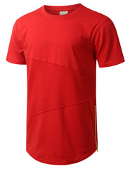 RED Mesh Trim Tonal Longline T-shirt - URBANCREWS