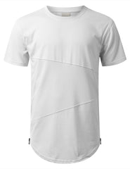 WHITE Mesh Trim Tonal Longline T-shirt - URBANCREWS