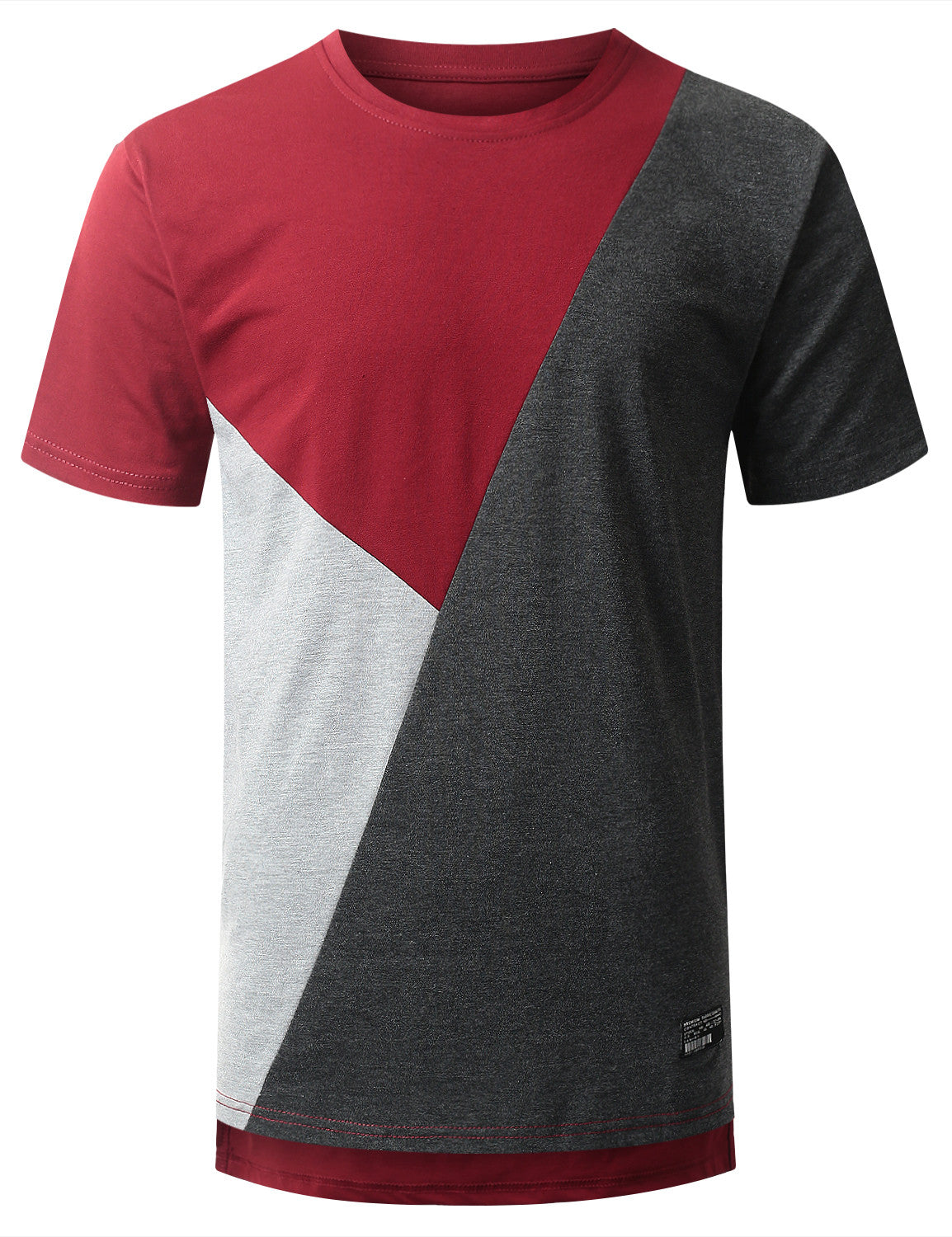 Color block longline t shirt urbancrews for One color t shirt