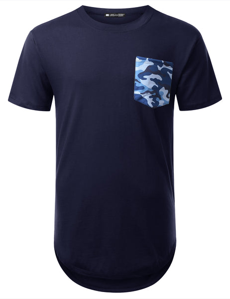 NAVY Blue Camo Pocket Longline T-shirt - URBANCREWS