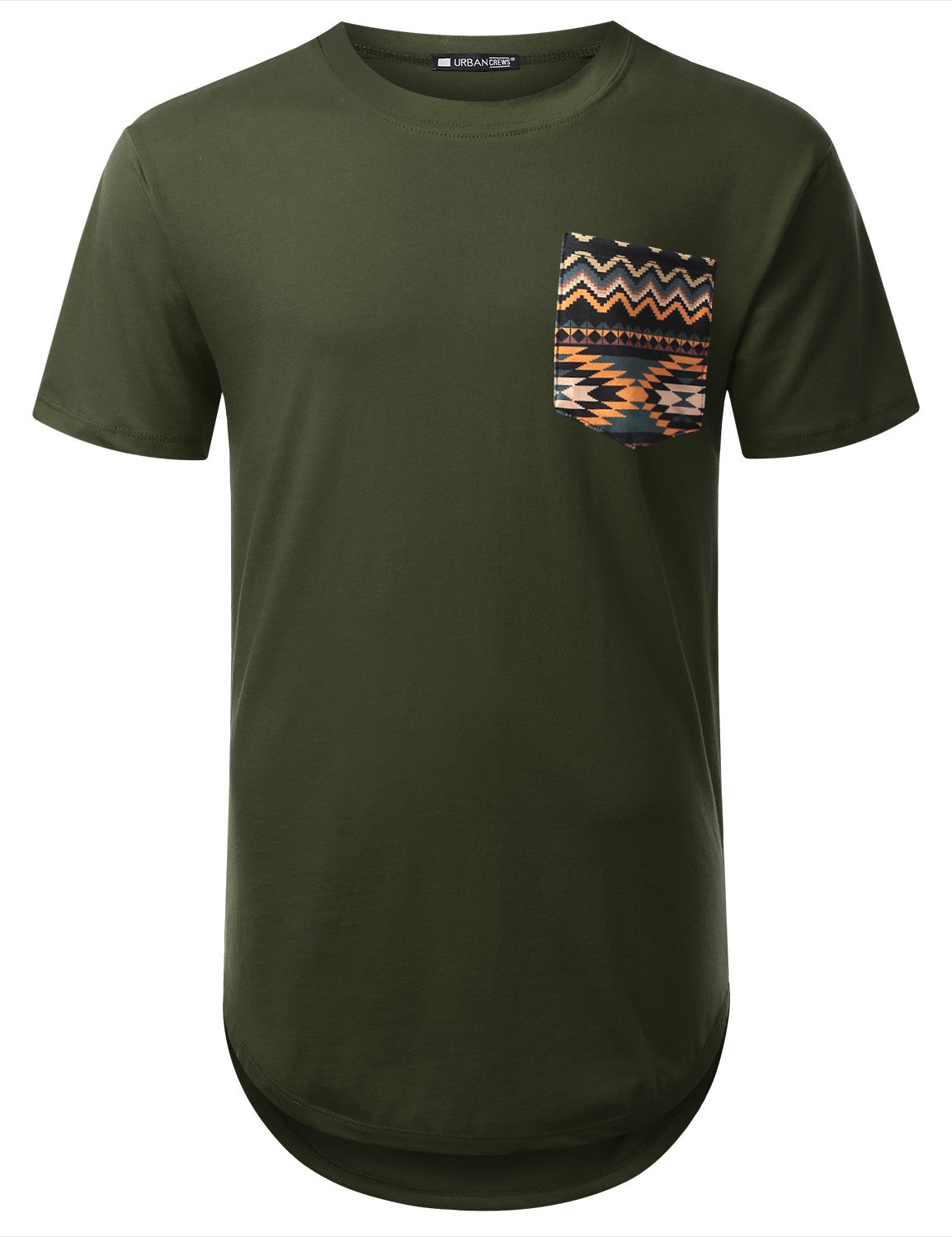OLIVE Aztec Camo Pocket Longline T-shirt - URBANCREWS
