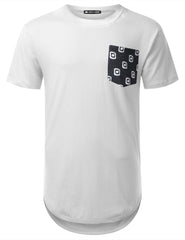 WHITE Graphic Pattern Pocket Longline T-shirt - URBANCREWS