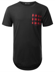 BLACK Plaid Pocket Longline T-shirt - URBANCREWS