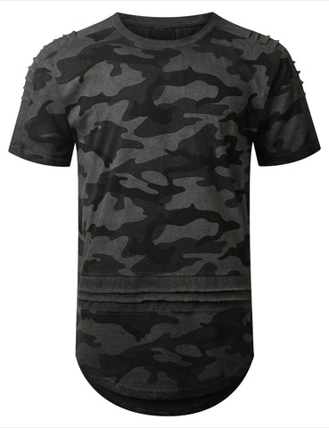 Surface Dyed Camo Longline T-shirt