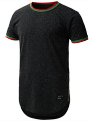 BLACK Nap Yarn Ringer Longline T-shirt - URBANCREWS