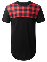 BLACK Plaid Panel Longline T-shirt - URBANCREWS