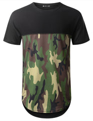 BLACK Camo Bottom Panel Longline T-shirt - URBANCREWS