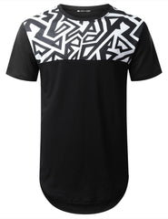 BLACK Geometric Panel Longline T-shirt - URBANCREWS