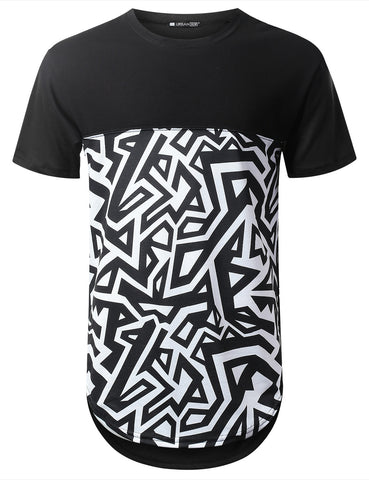 Geometric Bottom Panel Longline T-shirt