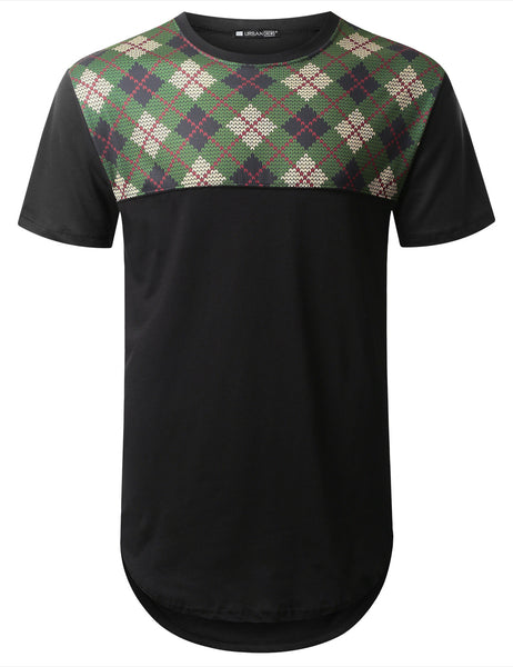 BLACK Argyle Panel Longline T-shirt - URBANCREWS