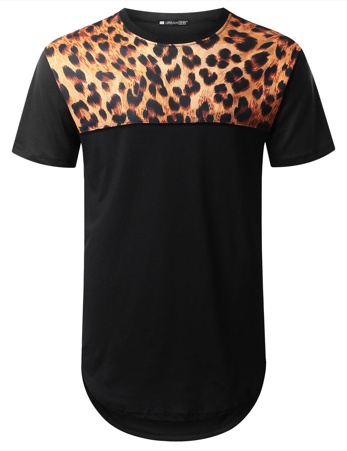 BLACK Cheetah Panel Longline T-shirt - URBANCREWS