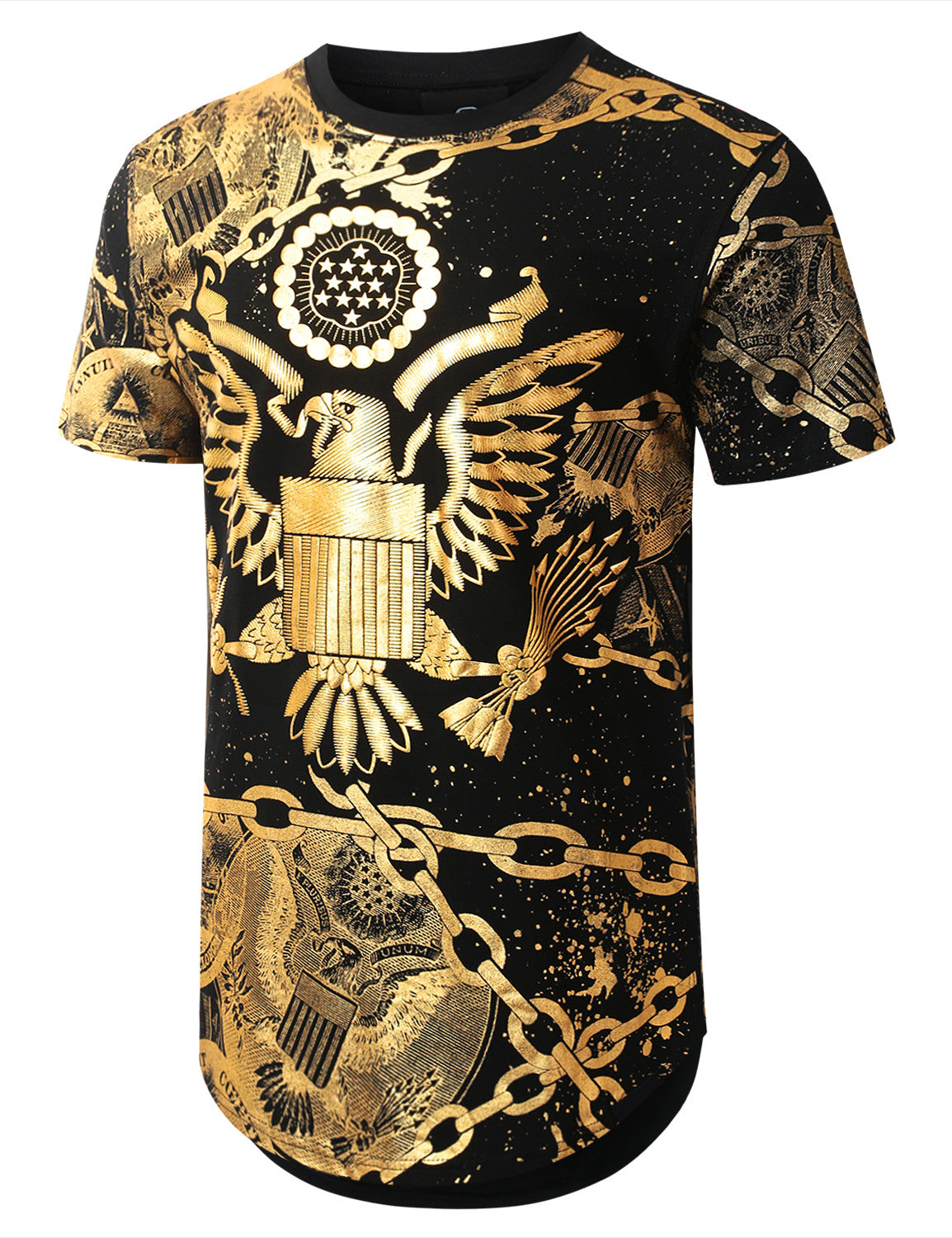BLACK Gold Foil Chain Graphic Longline T-shirt - URBANCREWS