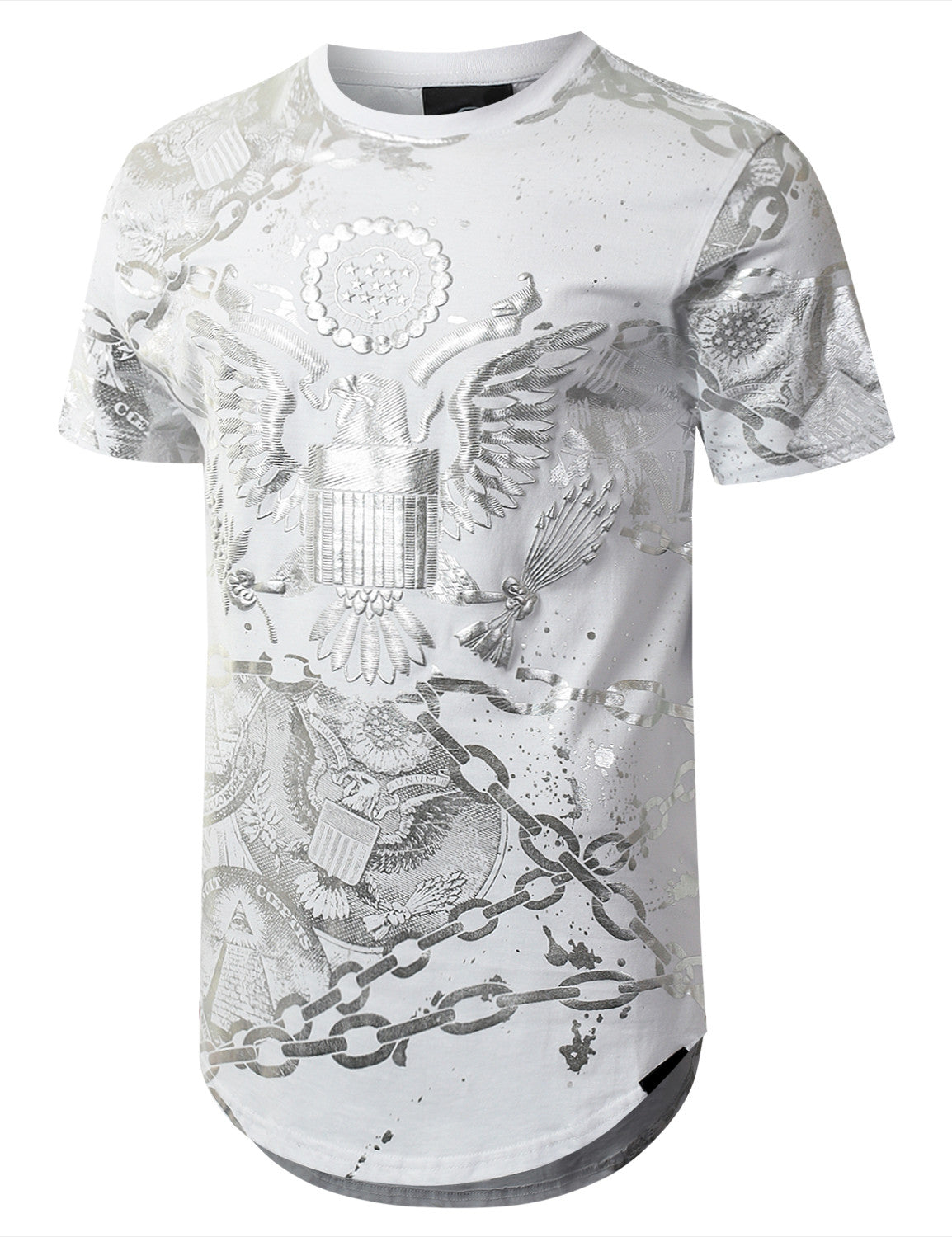 WHITE Gold Foil Chain Graphic Longline T-shirt - URBANCREWS