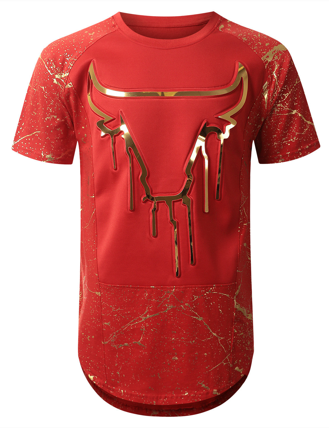 RED Embossed Bulls Longline T-shirt - URBANCREWS