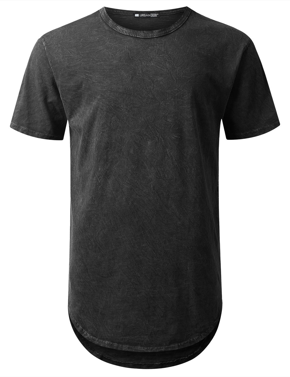 BLACK Cotton Dyed Longline T-shirt - URBANCREWS