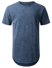 NAVY Cotton Dyed Longline T-shirt - URBANCREWS