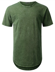OLIVE Cotton Dyed Longline T-shirt - URBANCREWS