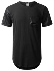 BLACK PU Sleeves Pocket Longline T-shirt - URBANCREWS