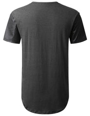 CHARCOAL PU Sleeves Pocket Longline T-shirt - URBANCREWS
