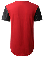 RED PU Sleeves Pocket Longline T-shirt - URBANCREWS