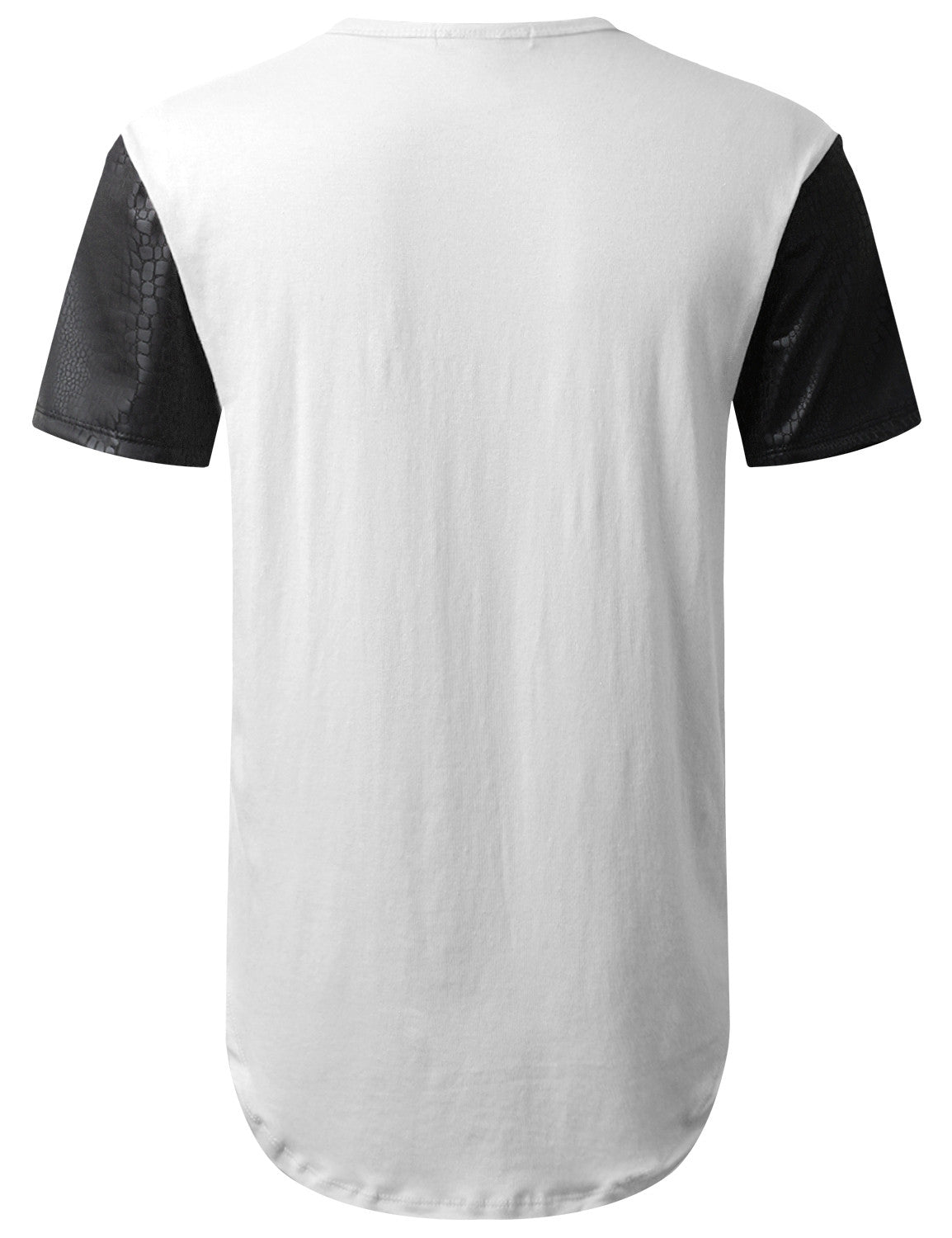 WHITE PU Sleeves Pocket Longline T-shirt - URBANCREWS