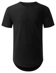 BLACK Basic Solid Longline T-shirt - URBANCREWS