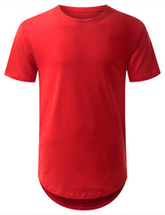 RED Basic Solid Longline T-shirt - URBANCREWS