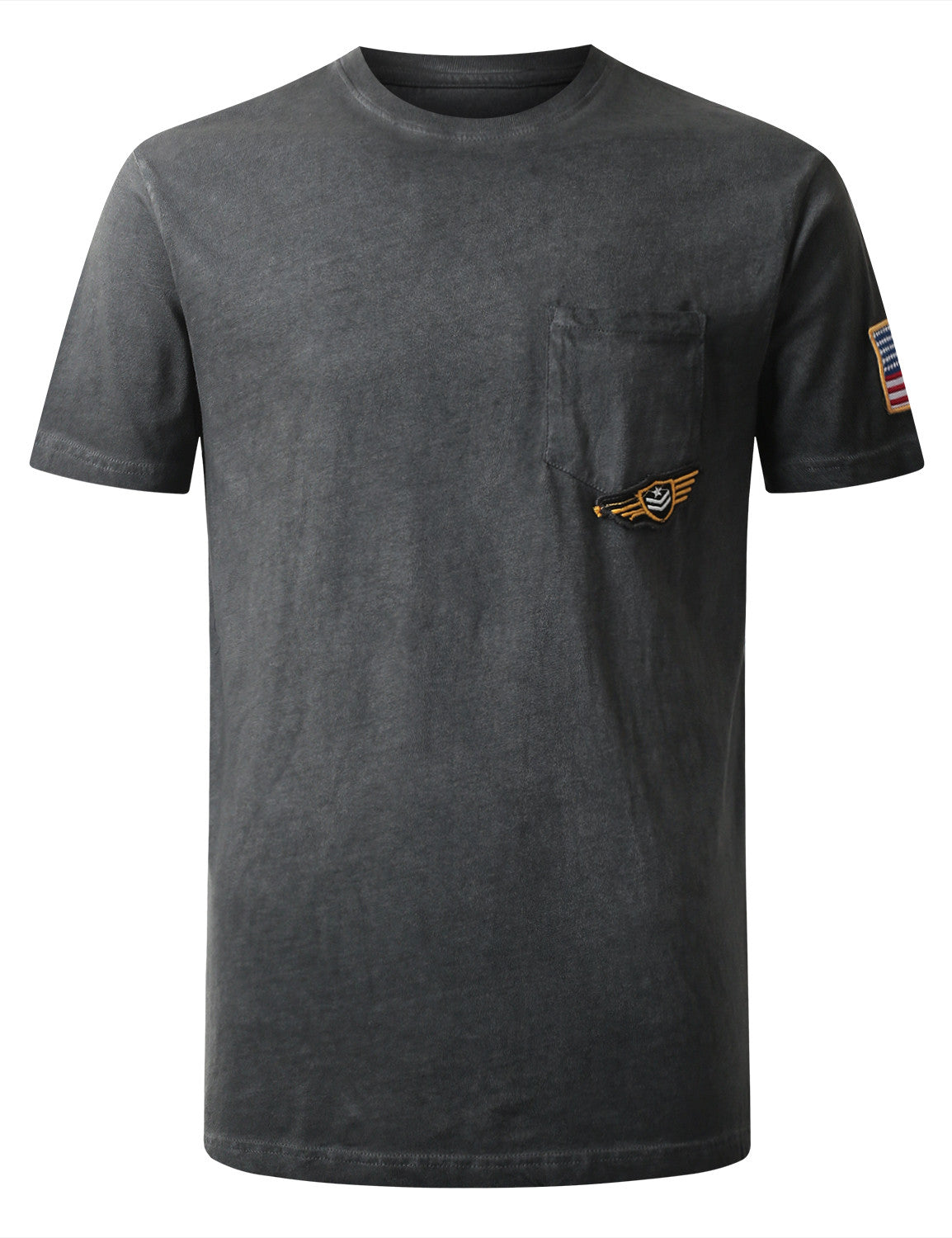 BLACK Embroidered Patch Pocket T-shirt - URBANCREWS