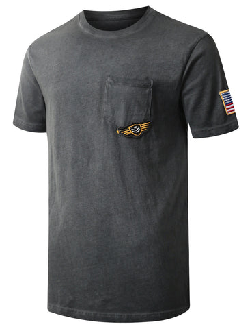 Embroidered Patch Pocket T-shirt