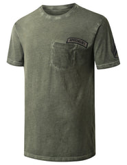 OLIVE Embroidered Patch Pocket T-shirt - URBANCREWS