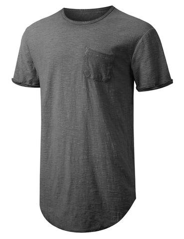 Washed Rolled Sleeve Longline T-shirt