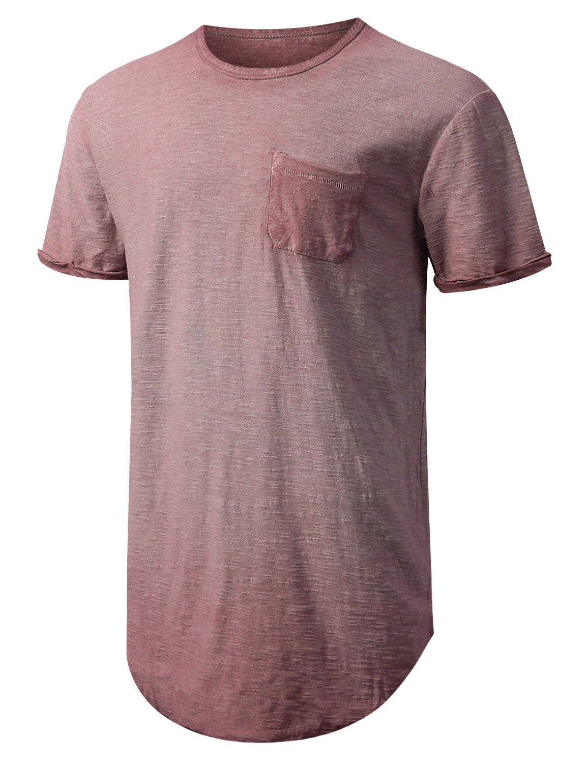 RED Washed Rolled Sleeve Longline T-shirt - URBANCREWS