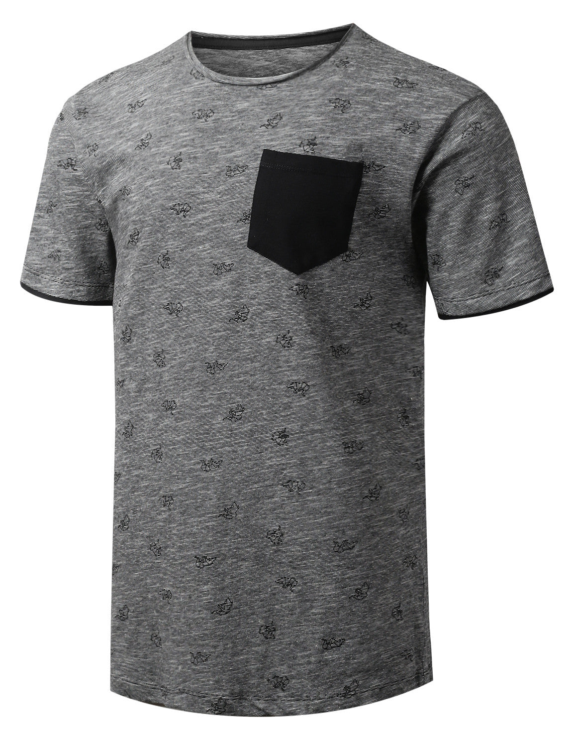 CHARCOALBLACK Raw Edge Collar Pocket T-shirt - URBANCREWS