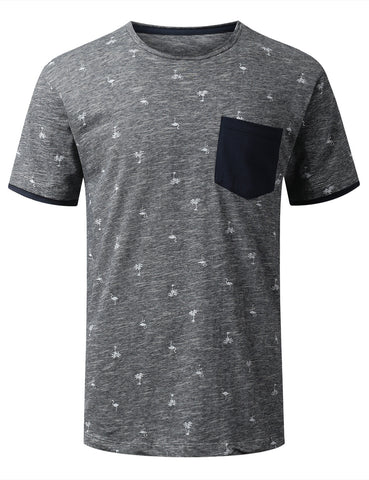 Raw Edge Collar Pocket T-shirt