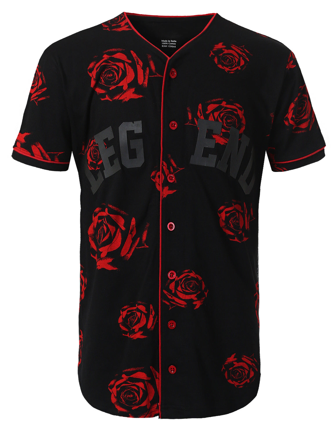 BLACK Rose Printed Baseball Jersey T-shirt - URBANCREWS