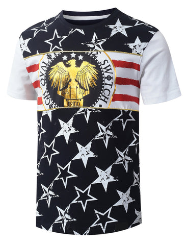 Gold Piping American Flag T-shirt
