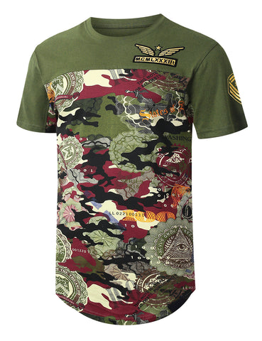 Camo Bottom Panel Patched Longline T-shirt