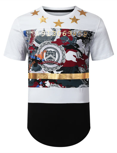 Cut Block Foil Print T-shirt