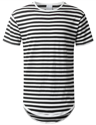 Striped Longline Crewneck T-shirt