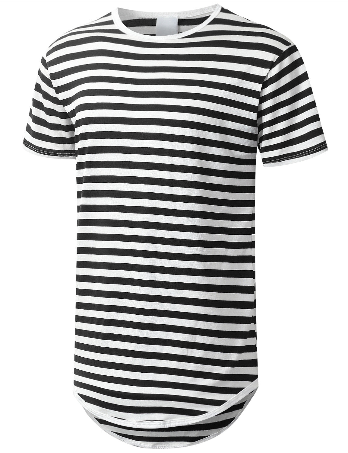 BLACK Striped Longline Crewneck T-shirt - URBANCREWS