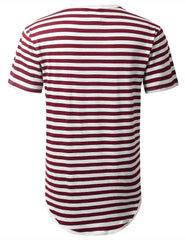 BURGUNDY Striped Longline Crewneck T-shirt - URBANCREWS