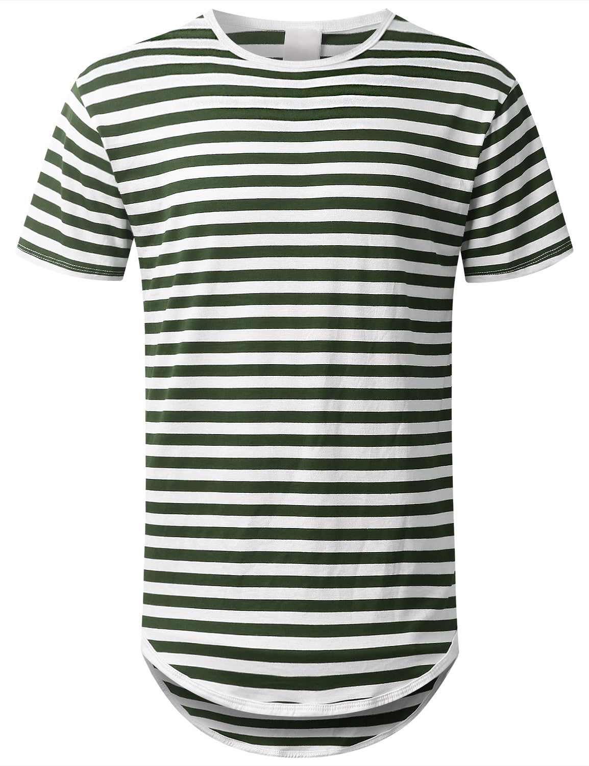 OLIVE Striped Longline Crewneck T-shirt - URBANCREWS