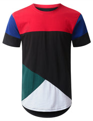 BLACK Jersey Color Block Longline T-shirt - URBANCREWS