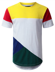 WHITE Jersey Color Block Longline T-shirt - URBANCREWS