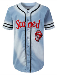 BLUE Rolling Stoned Bleach Baseball Jersey - URBANCREWS