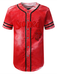 RED Rolling Stoned Bleach Baseball Jersey - URBANCREWS