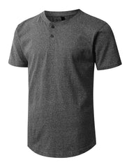 BLACK Melange Henley T-shirt - URBANCREWS
